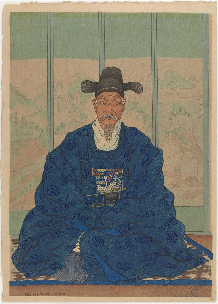 "Woodblock print 1921. Taisho era portrait ""The Scholar"" [The Daewongon]. Artist: Elizabeth Keith, published by Watanabe Shozaburo Japan."
