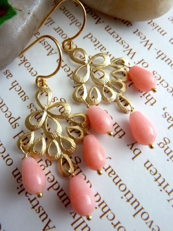 Salmon Pink Coral 16K Golden Peacock Feather Chandelier Earrings