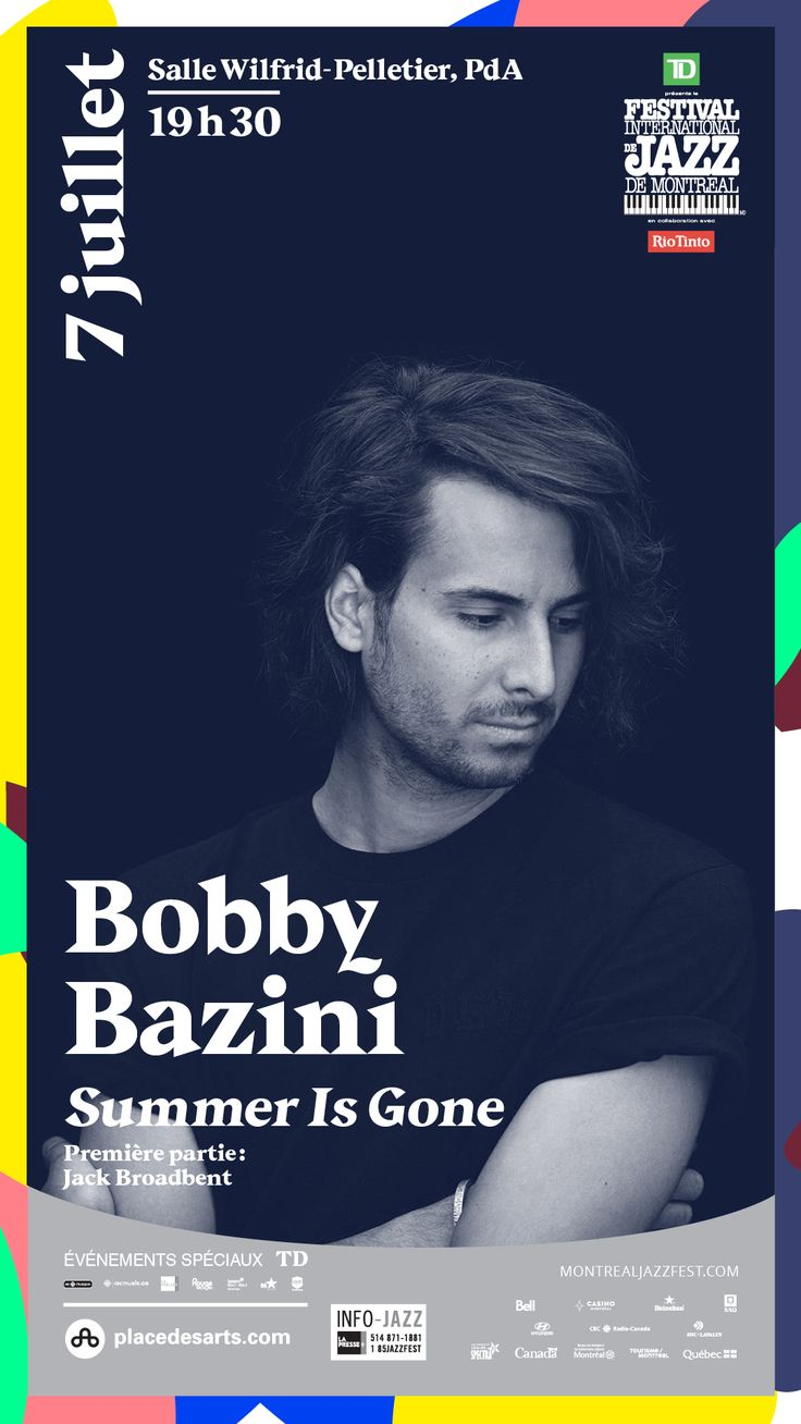 BOBBY BAZINI à la Salle Wilfrid-Pelletier de la Place des Arts le 7 juillet 2017. Avec sa voix soul pleine de maturité, sa petite gueule d'amour et son énergie pop-folk enracinée dans le rock et le blues, Bobby Bazini a conquis sans détour le cœur de nombreux fans, ici comme à l'étranger, et son succès n'est pas prêt de s'arrêter ! Il a rempli le Métropolis en février, le revoici sur scène avec son nouveau spectacle Summer Is gone, qui présente notamment les pièces son troisième album.