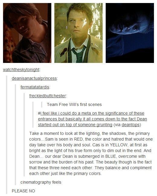 I bet you we the spn fandom, just decipher everything to the last detail, when the writers werent probably even meaning to do it.