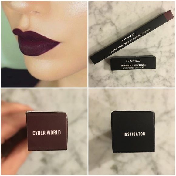 MAC Instigator Lipstick & Cyber World Liner Brand new never used Instigator matte lipstick and Cyber World lip liner from MAC. Too dark for my liking. Comes with limited edition holiday bag. MAC Cosmetics Other