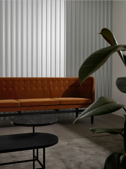 Mayor Sofa by Arne Jacobsen and Flemming Lassen, produces by &tradition here styled with The Moor Rug by All the way to Paris and Palette Table by Jaime Hayon for &tradition.