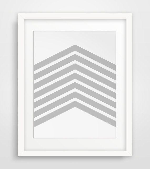 Light Grey Chevron Wall Art Grey Chevrons by MelindaWoodDesigns