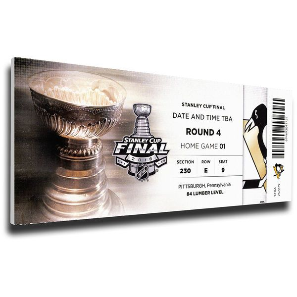 """Pittsburgh Penguins 2016 Stanley Cup Finals 14"""" x 33"""" Game 1 Mega Ticket Canvas - $79.99"""