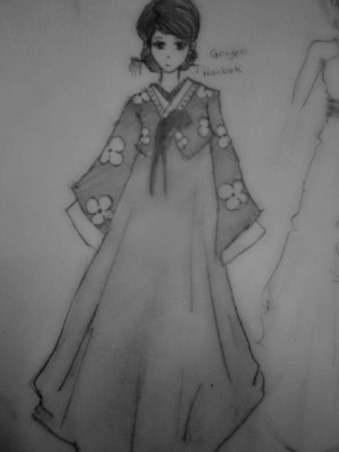 Traditional korean female outfit . Hanbok