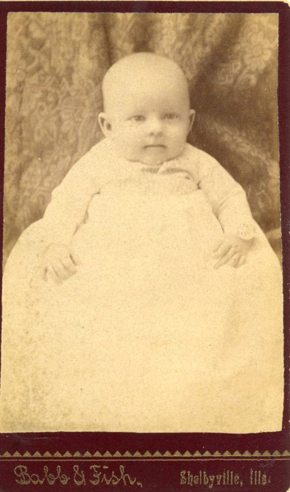 """Unknown"" CDV Cabinet Card photo and the photographer is Babb & Fish, Shelbyville, Illinois."