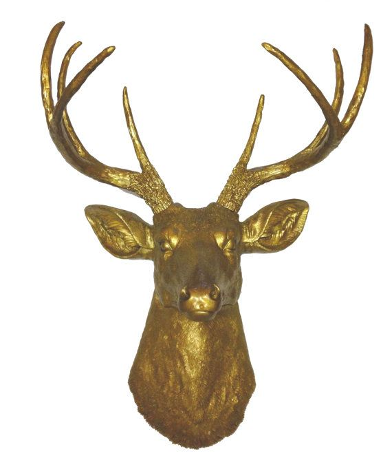 Gold Deer Head Mount Wall Statue. Faux Taxidermy by FauxTaxidermy