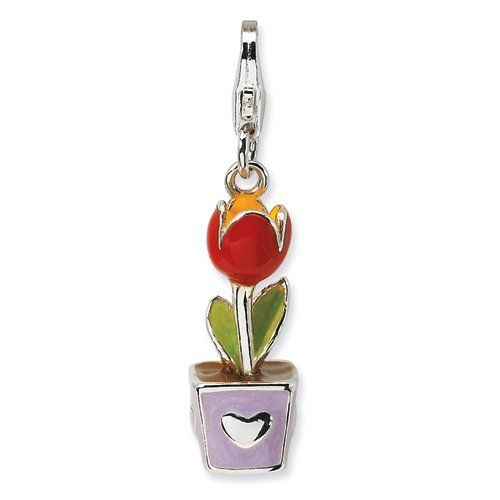 Sterling Silver 3-D Red Enamel Potted Tulip Flower w/Lobster Claw Clasp Clasp Charm Real Goldia Designer Perfect Jewelry Gift goldia. $21.76