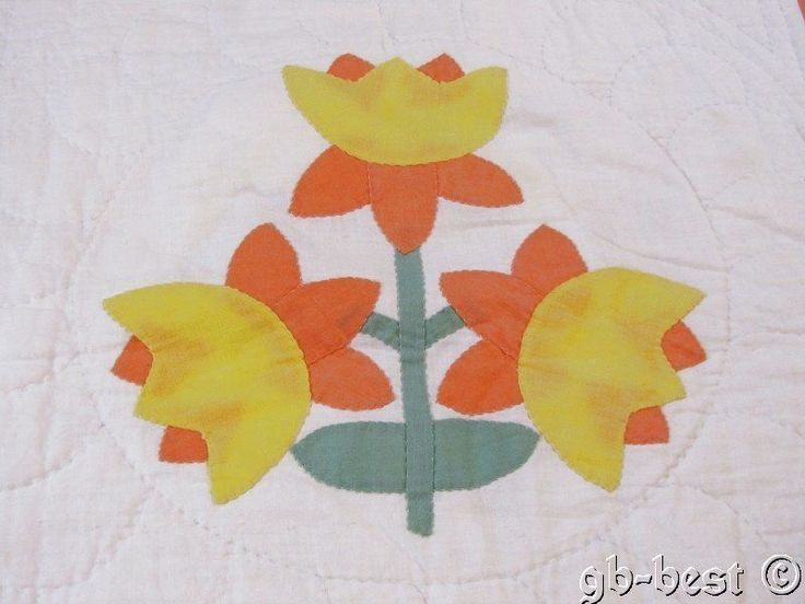 Cottage 30s Applique Daffodil Antique Crib Quilt 45 x 44 Authentic Peach Yellow | eBay