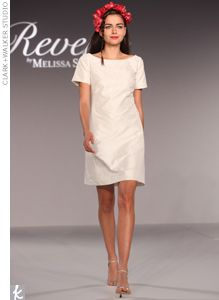 Short taffeta dress with a beaded neckline by Reverie by Melissa Sweet.