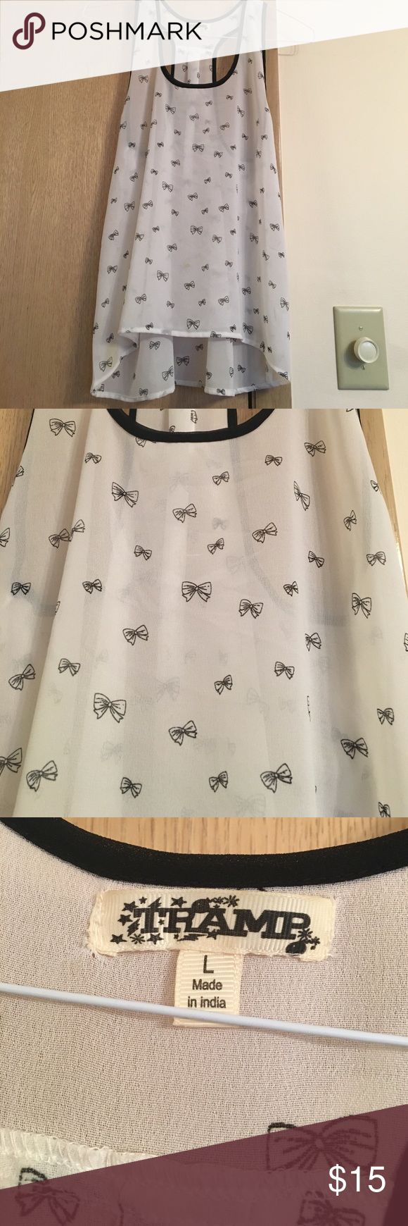 Thamp bow tank top Large in kids/juniors perfect for a breezy spring or summer day to wear outside for a party or picinic thamp Tops Tank Tops