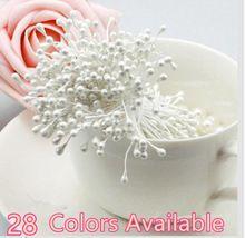 50 Teile/los Multicolor DIY perlenblumenstaubgefäß/Doppelköpfe Staubblatt Pearlized Handwerk Karten Kuchen Dekor Floral/Hochzeitsdekoration(China (Mainland))