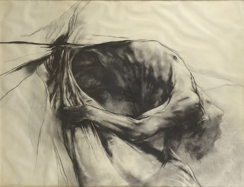 Luis Caballero (Colombian, 1943-1995), Untitled, 1979. Charcoal on paper, 110 x 143 cm.