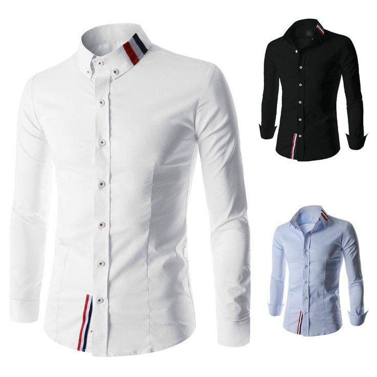 Men's Plaid Casual Shirts, Long Sleeves, Slim Fit, Black, White, Light Blue