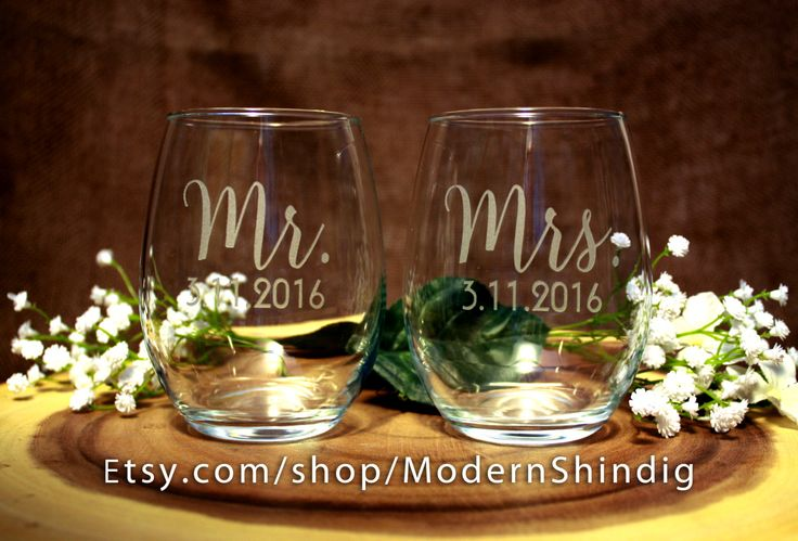 Etched Glasses for Bride and Groom Mr and Mrs or Wedding Party Stemless or Stem Wine Glasses Pair of 2 - Custom Design Free with Purchase by ModernShindig on Etsy