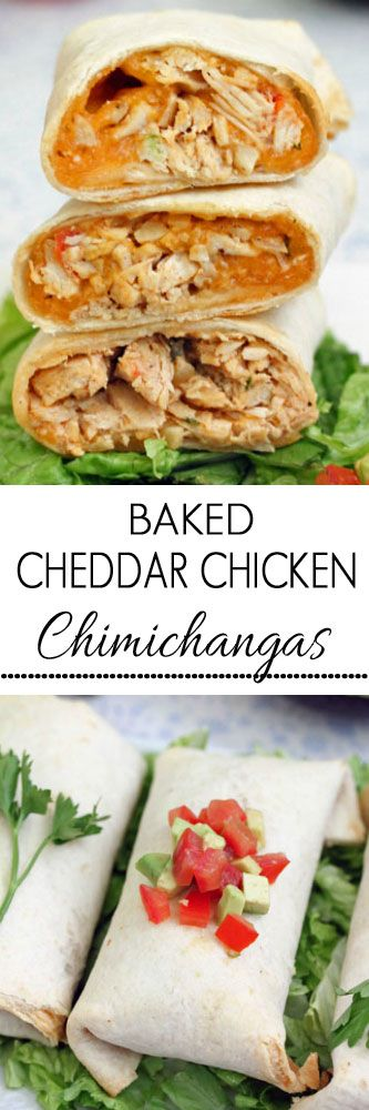Baked Cheddar Chicken Chimichangas #chimichangas #chickenrecipes #dinnertonight