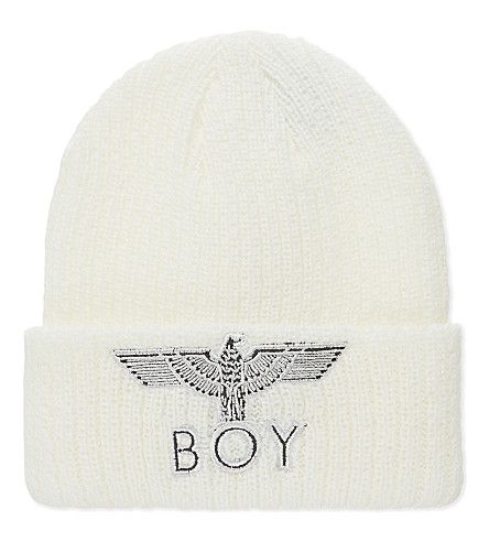 BOY LONDON Eagle Appliqué Knitted Beanie. #boylondon #hats