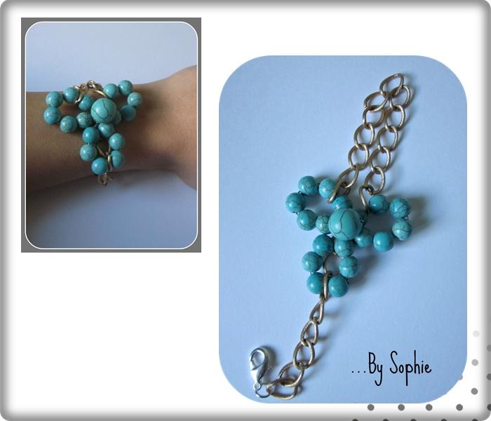 pulsera flor en piedras turquesa