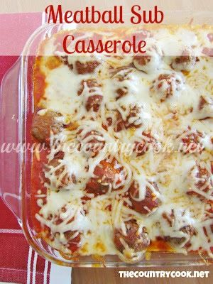 The Country Cook: Meatball Sub Casserole // one of our freezer meals we made. My family ate this last night and everyone loved it. Even the almost two year old!