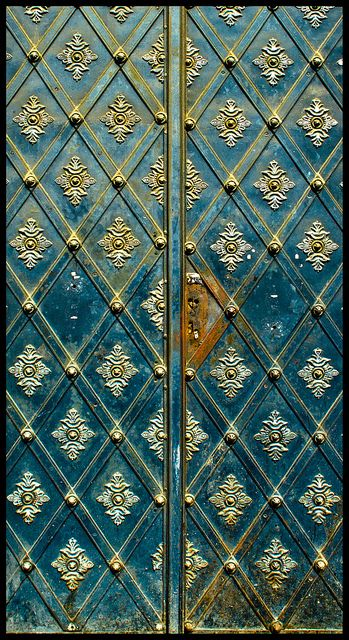 Gorgeous Doors in Prague, Czech Republic. Inspiration to Embellish turquoise double doors in my turret,