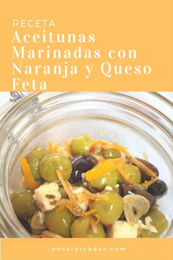 Aceitunas Marinadas con Naranja y Queso Feta