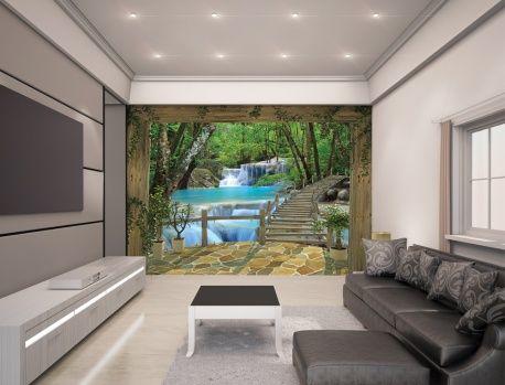 3D tapeta s vodopádom Walltastic