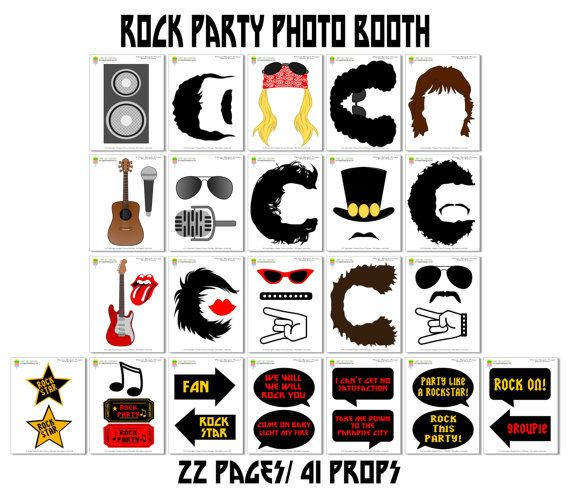 Rock Party Photo Booth Props42 Pieces 31 by HappyFiestaDesign