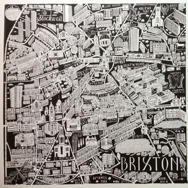 Caroline Harper. Hand-drawn maps | Brixton print