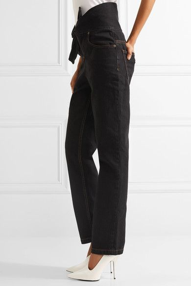 Y/PROJECT - Tie-front High-rise Straight-leg Jeans - Black - FR