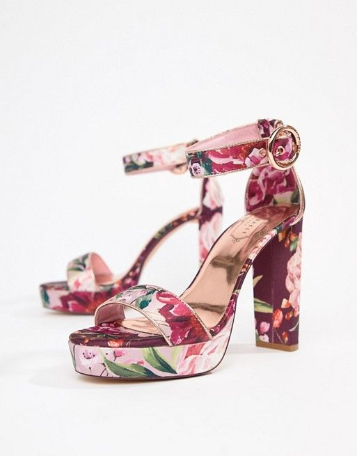 5117893b8 Ted Baker Floral Printed Platform Block Heeled Sandals