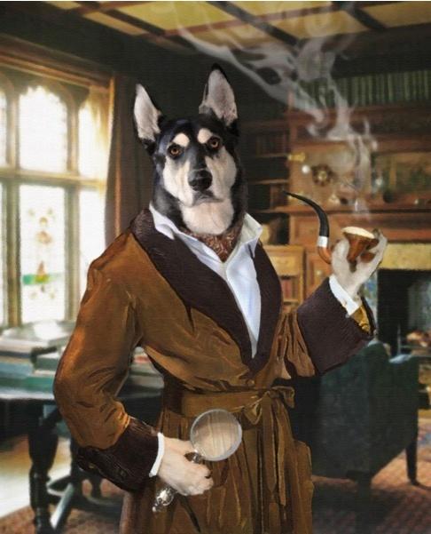 Pet Portrait by Valerie Leonard, collection 1, Sherlock Bones.