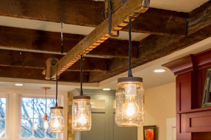 1800's Historical Farmhouse Wood Beam Light - Pendant Lighting Wood Lamp