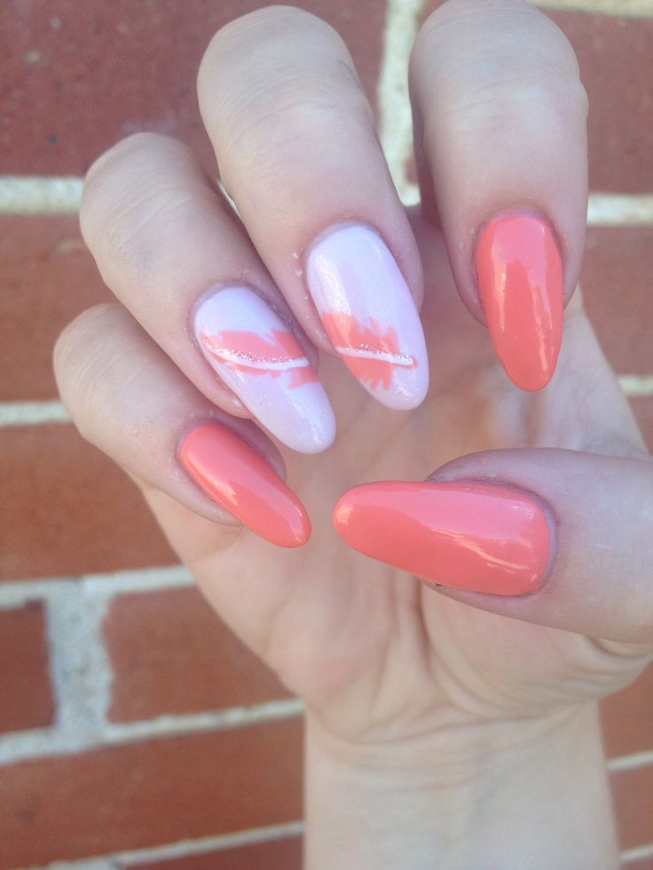 Cute Coral Almond Oval Nails With A Freehand Feather Nice And Simple Nail Design Nails