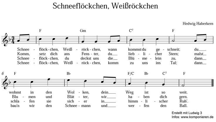 """""""Schneeflöckchen, Weißröckchen"""" ist ein beliebtes Winterlied. Noten und Text zum Singen und Musizieren für dieses und andere Kinderlieder finden Sie hier."""