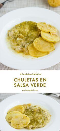 Receta de Chuletas de cerdo en salsa verde.   cocinamuyfacil.com
