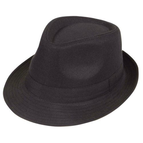 From 1.87:Black Fedora Plain Hat Outfit accessory for Gangster Fancy Dress