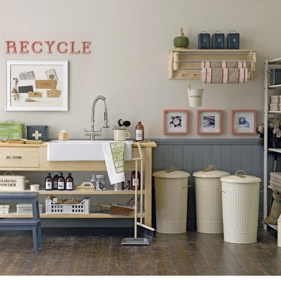 1950s-style utility room   Utility room   Utility room storage solutions   PHOTO GALLERY   Housetohome - bins by Garden Trading