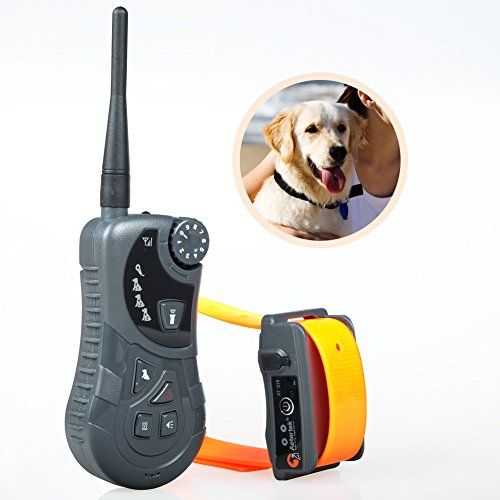 Aetertek At-218-1 Dog Shock Collar with Flashlight Rechargeable Dog Bark Collar Wireless Dog Trainer 600yards Range Remote 1 Dog Training Shock Collar with Auto Anti Bark Feature, Submersible (100% Waterproof) Dog Control Collar