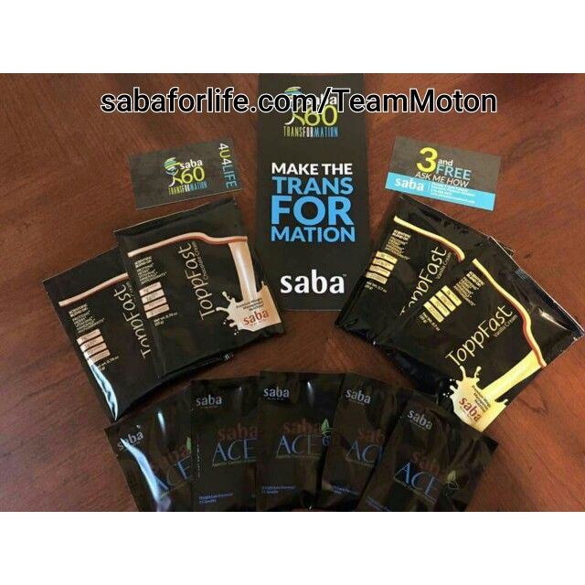 Saba60 sampler 5 day supply of Saba Ace G2 and 2 vanilla toppfast and 2 chocolate toppfast for $20, grab yours today only a few left.... Sabaforlife.com/TeamMoton