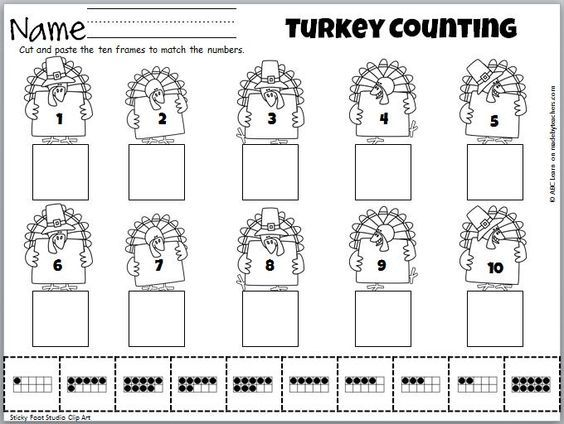 FREE. Cut and Paste math activity for numbers 1 to 10 on Turkeys. Fun fall or Thanksgiving activity.