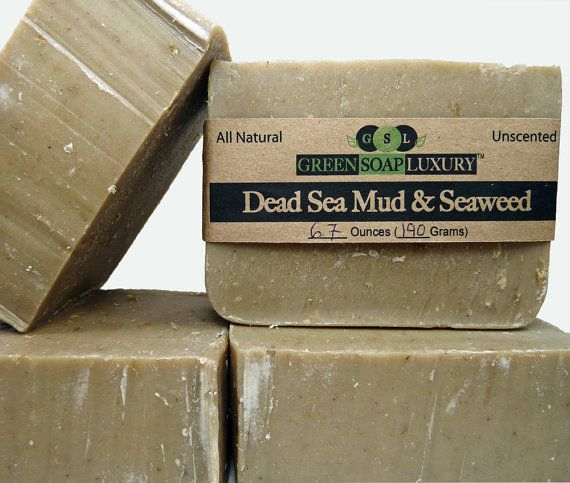 Dead Sea Mud and Seaweed Soap 6.7 to 7.4 oz  by GreenSoapLuxury, $9.25