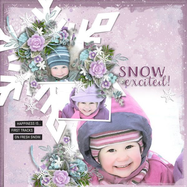 Template and Kit Snow Excited by Heartstrings Scrap Art. Photos from Desktop Nexus