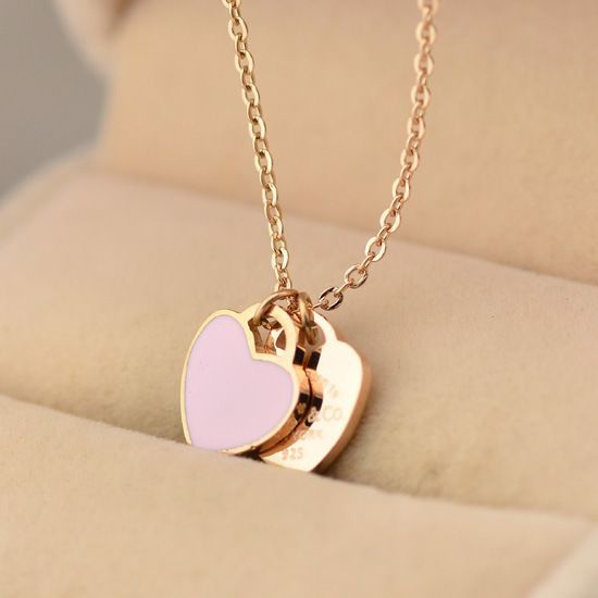 Women's 18K Rose Gold Love Heart Necklace for Girlfriend