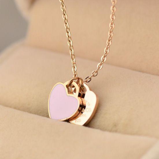 Women's 18K Rose Gold Love Heart Necklace for Girlfriend