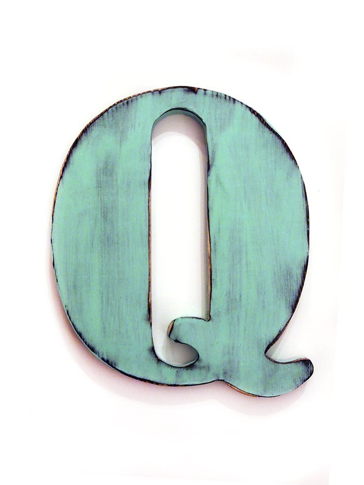 Letter q in mint pine wood sign wall decor rustic for Decoration 9 letters