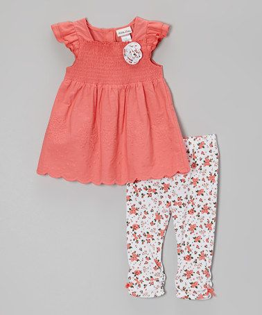 Pink Floral Smocked Tunic & Leggings - Infant, Toddler & Girls by Little Lass #zulily #zulilyfinds
