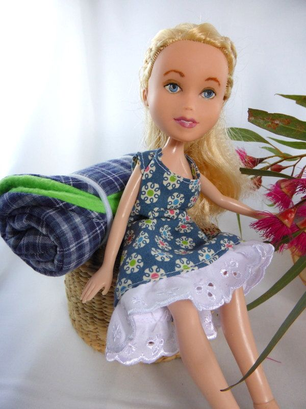 Repainted OOAK, made-under Bratz doll with sleeping bag, changed doll with retro print sun dress by thecraftypioneer on Etsy