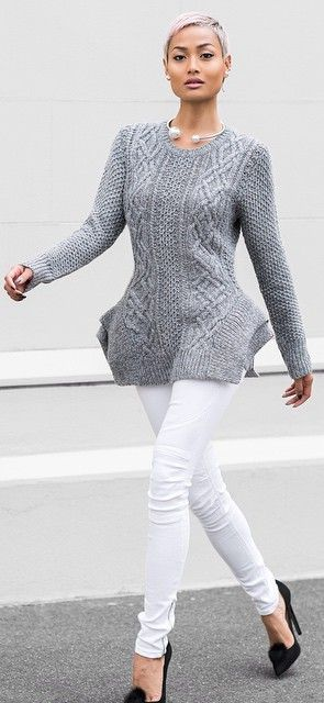 Grey Cable Knit Peplum Sweater