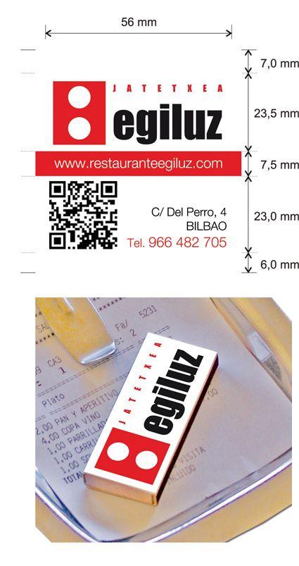 """Propuesta diseño cajas de cerillas modelo """"Hotel"""" para Egiluz Restaurante en Bilbao."""