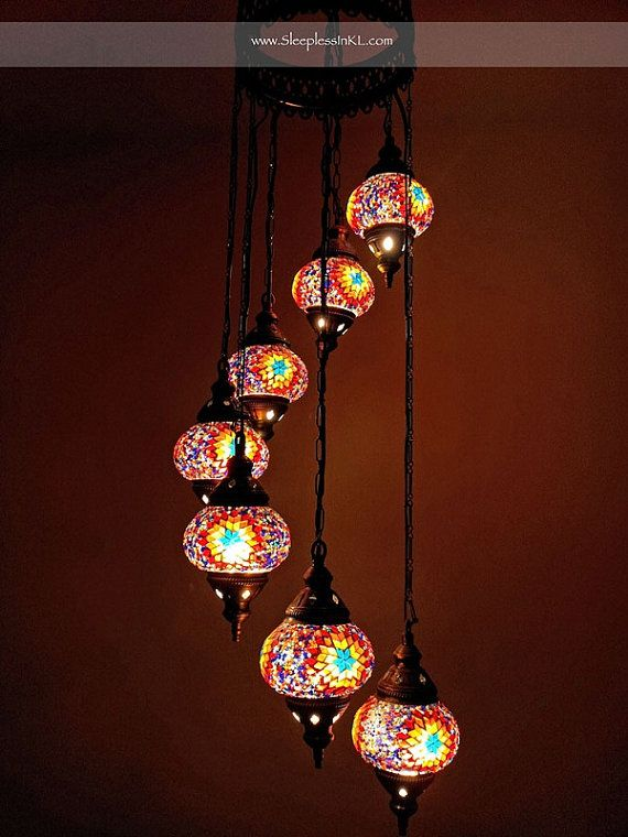 Glass Mosaic Chandelier By Anatolanmosacbazaar On Etsy